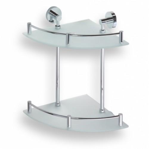 Bemeta Omega dviguba kampinė stiklinė lentynėlė