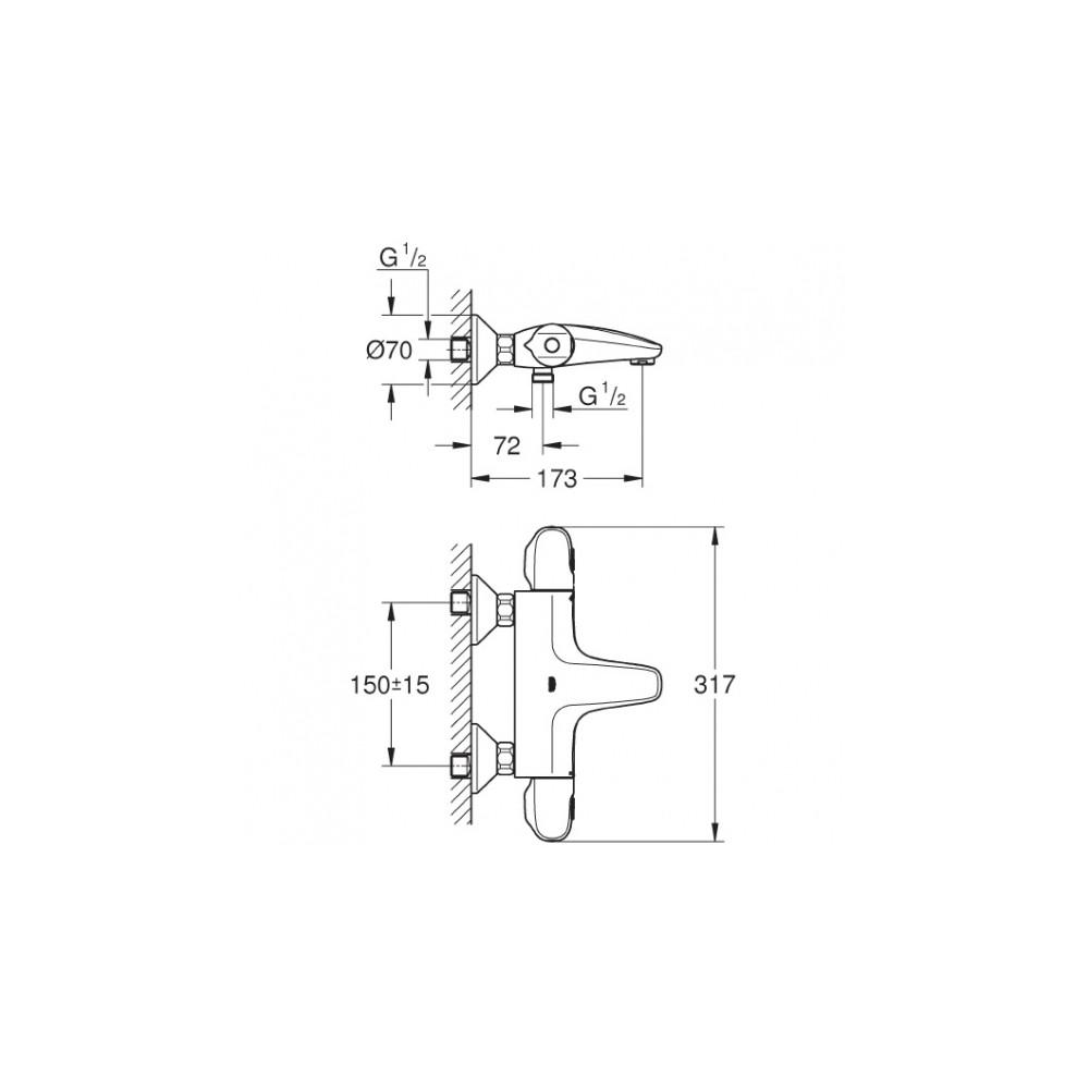 grohe grohtherm 1000 new termostatinis mai ytuvas 34155003. Black Bedroom Furniture Sets. Home Design Ideas