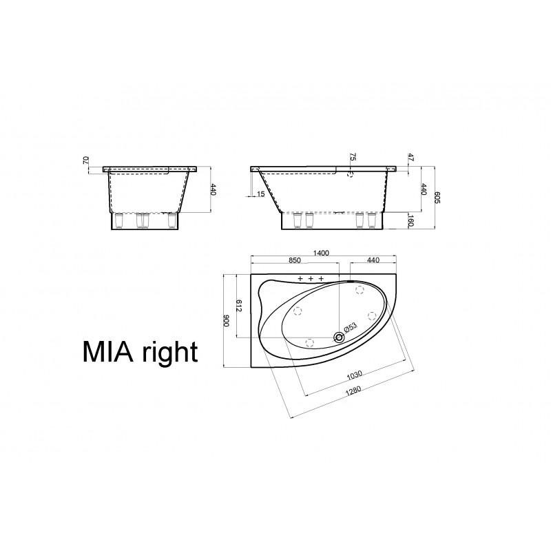 Vispool MIA akmens masės vonia 1400*900 mm