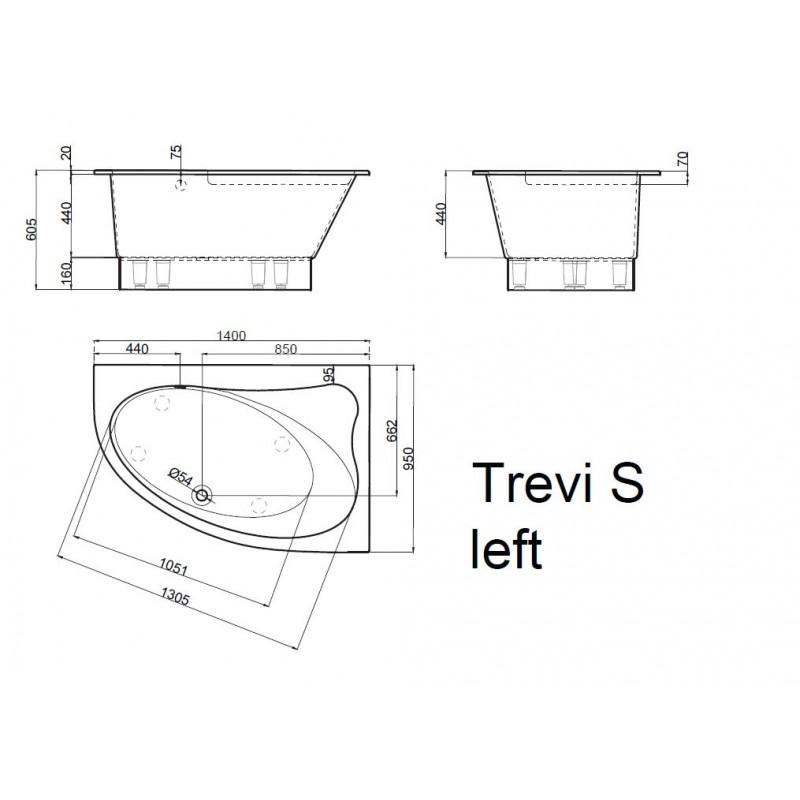 Vispool Trevi S akmens masės vonia 1400*950 mm