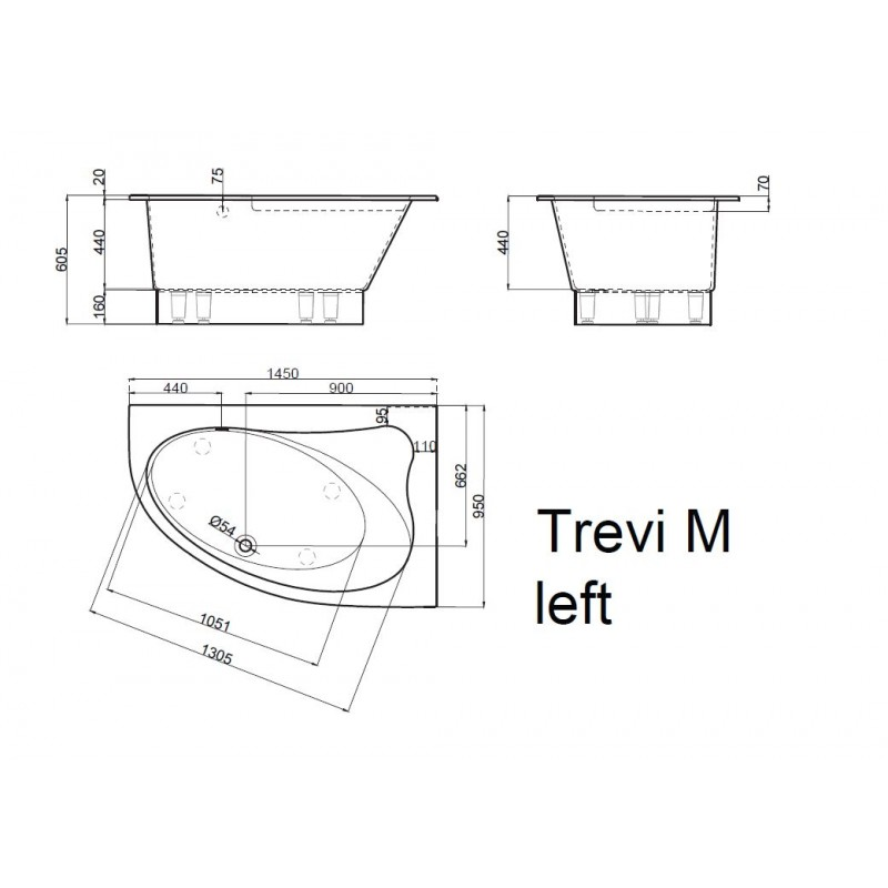 Vispool Trevi M akmens masės vonia 1450*950 mm