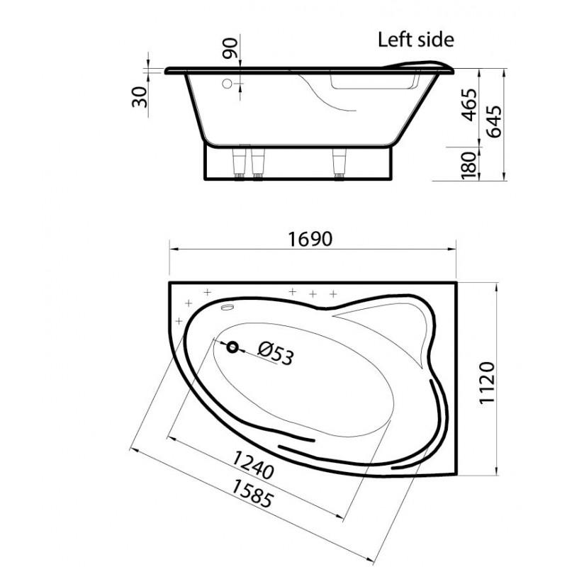 Vispool Orte akmens masės vonia 1690*1120 mm