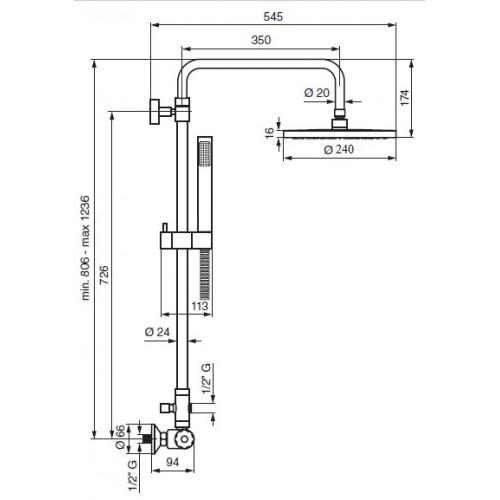 Emmevi CR930514 termostatinė dušo sistema su 240 mm skersmens dušo galva