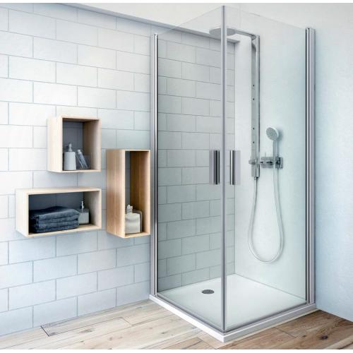 Roltechnik TCO1+TCO1 kvadratinė dušo kabina su dviejų elementų atveriamomis durimis