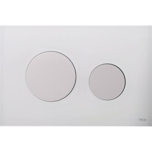 TECEloop vandens nuleidimo plokštelė stikliniu paviršiumi, stiklas baltas, mygtukai balti