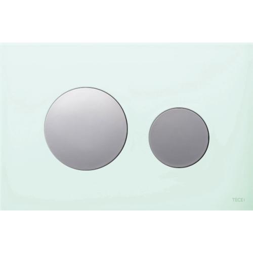 TECEloop vandens nuleidimo plokštelė stikliniu paviršiumi, stiklas žalias, mygtukai blizgantys
