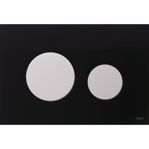 TECEloop vandens nuleidimo plokštelė stikliniu paviršiumi, stiklas juodas, mygtukai balti