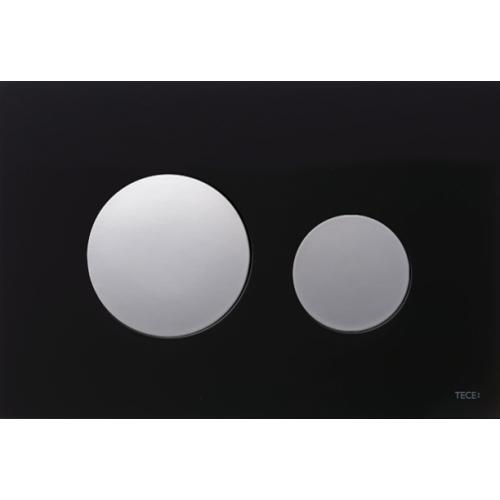 TECEloop vandens nuleidimo plokštelė stikliniu paviršiumi, stiklas juodas, mygtukai blizgantys