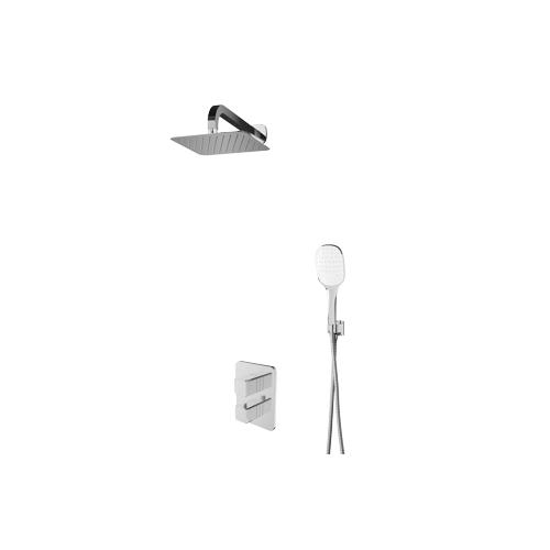 Termostatinė potinkinė dušo sistema Omnires Parma PM11 su stacionaria 25 cm metaline dušo galva