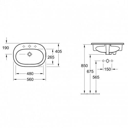 Villeroy&Boch O.Novo įleidžiamas praustuvas 41615601, 560*405 mm
