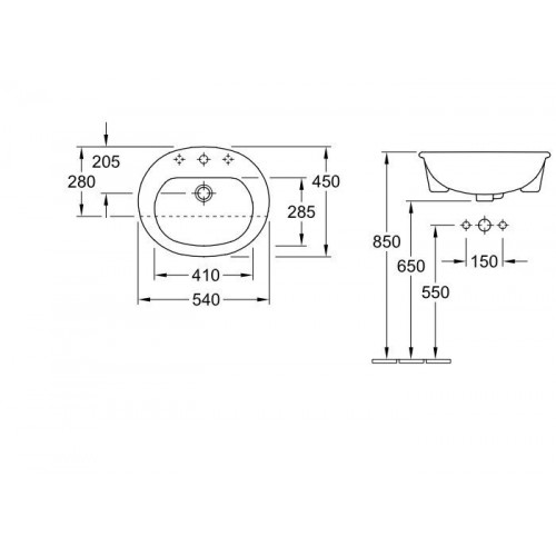 Villeroy&Boch O.Novo dalinai įleidžiamas praustuvas 41605501, 540*450 mm
