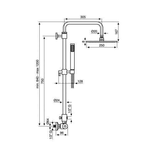 Dušo sistema Emmevi CR4530584  su stacionaria metaline 25 cm skersmens galva ir termostatiniu maišytuvu