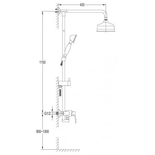 Dušo sistema Omnires Art Deco, AD5144CR
