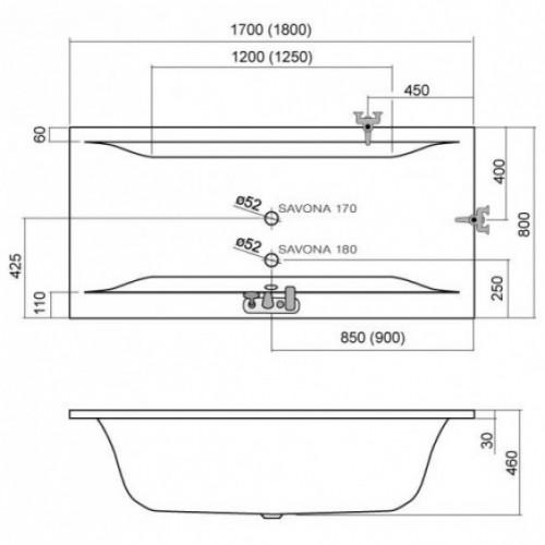 Roltechnik Savona 170*80 akrilinė stačiakampė vonia