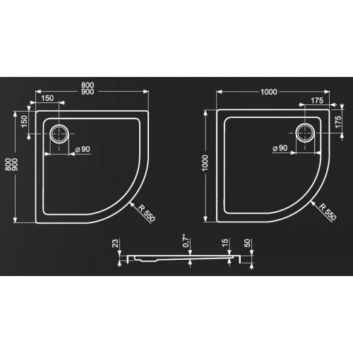 Roltechnik Flat Round 1000*1000 mm pusapvalis dušo padėklas