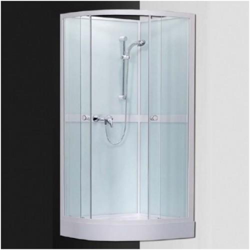 Pusapvalė dušo kabina su padėklu SaniPro Simple/900