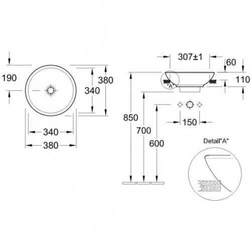 Villeroy&Boch Loop&Friends dalinai įleidžiamas praustuvas 411800, Ø 380 mm