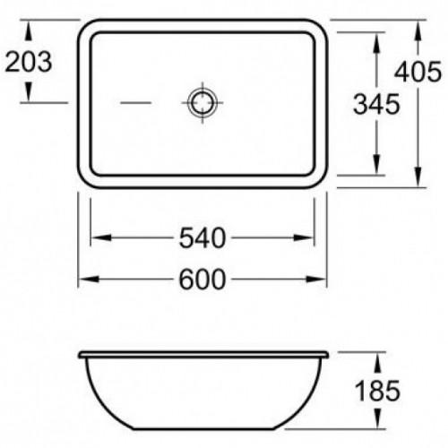 Villeroy&Boch Loop&Friends 6163001 praustuvas montuojamas iš apačios, 540*340 mm