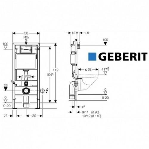 Potinkinis unitazo rėmas Geberit su chromuotu mygtuku 4 in 1