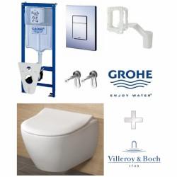 Potinkinio rėmo Grohe ir pakabinamo klozeto Villeroy & Boch Subway 2.0 Direct Flush su Slim dangčiu komplektas