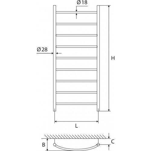 Elonika EŽ 947 KL žalvarinis vandeninis gyvatukas, 1200*470 mm