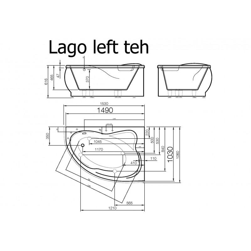 Vispool Lago akmens masės vonia 1530*1060 mm