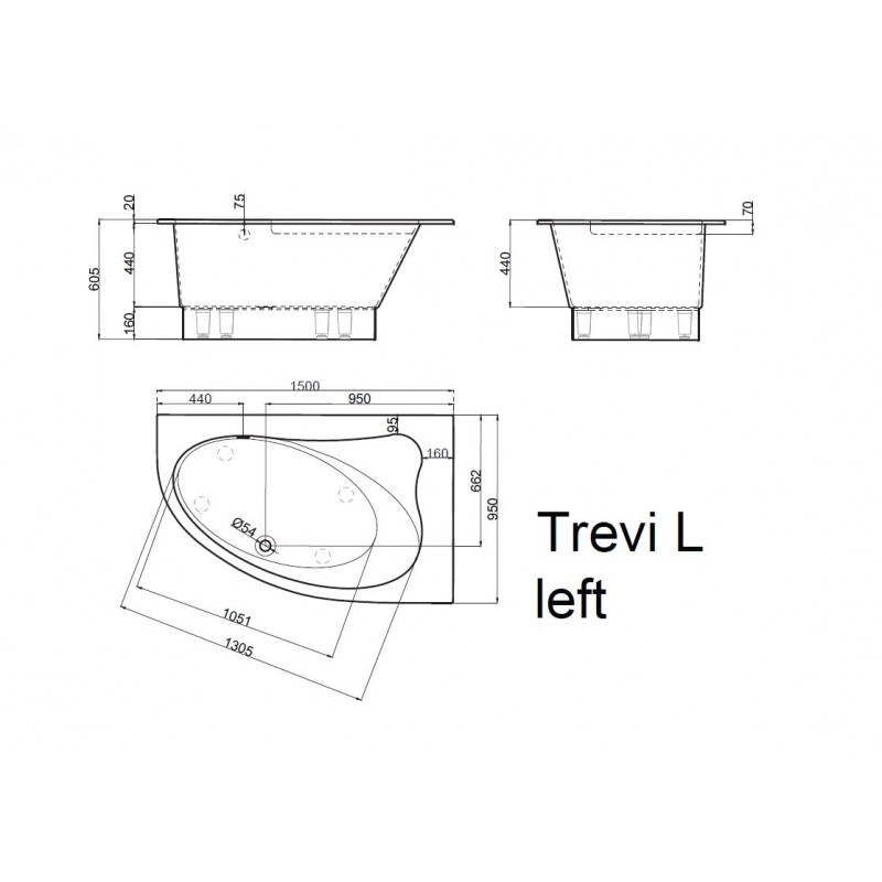 Vispool Trevi L akmens masės vonia 1500*950 mm