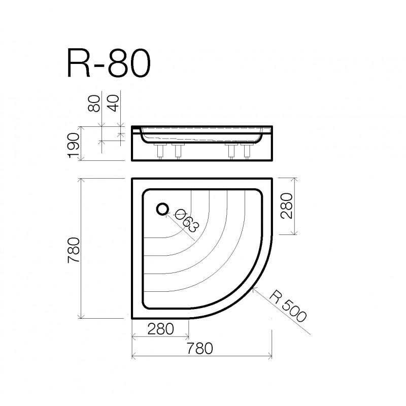 Vispool R-80 akmens masės dušo padėklas 800*800 mm