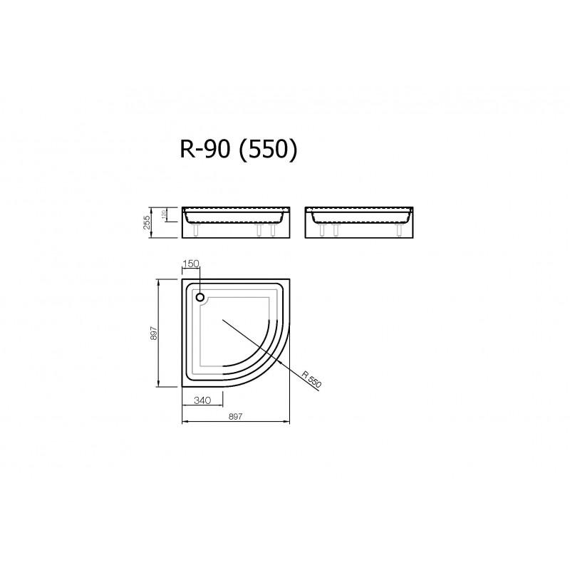 Vispool R-90 akmens masės dušo padėklas 900*900 mm