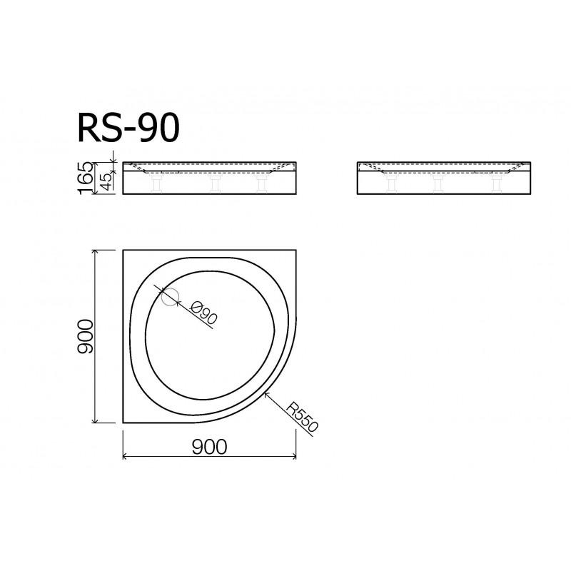 Vispool RS-90 akmens masės dušo padėklas 900*900 mm