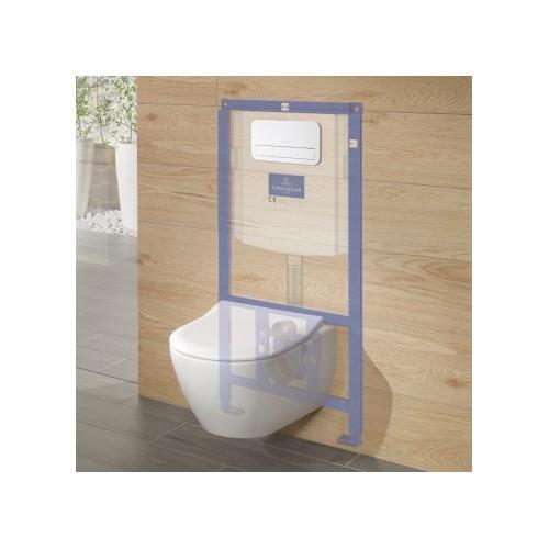 Villeroy & Boch Viconnect potinkinis rėmas su WC mygtuku ir Avento pakabinamas unitazas su lėtai nusileidžiančiu dangčiu