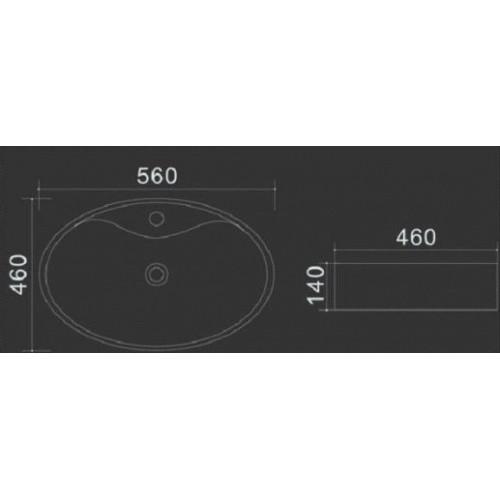 Praustuvas montuojamas ant stalviršio Lux-Aqua Nekkar 56x46cm su skyle maišytuvui
