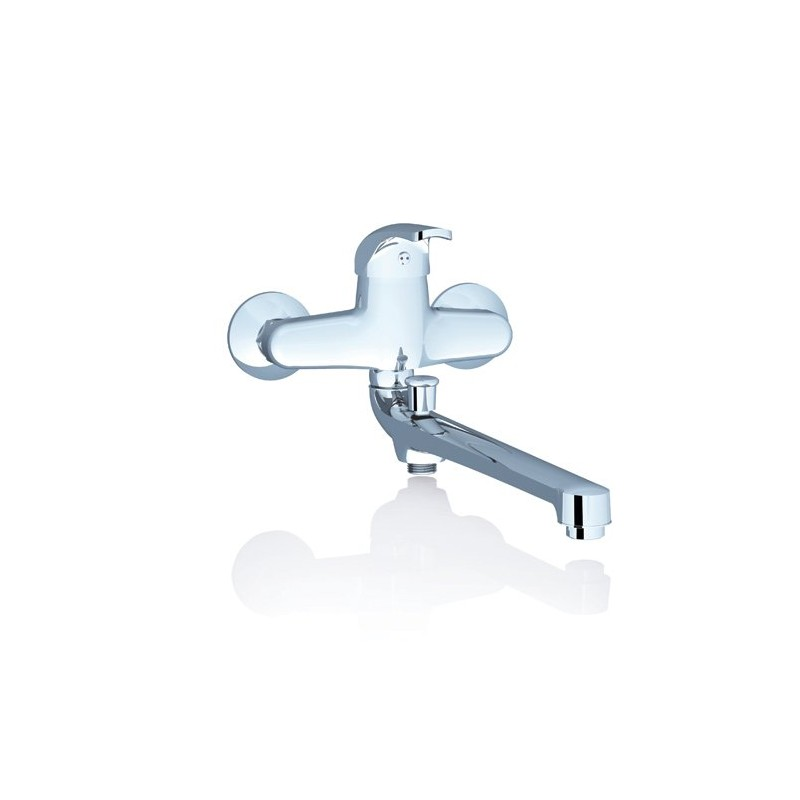 Sieninis praustuvo/vonios Ravak Rosa maišytuvas su ilgu snapeliu, 150 mm