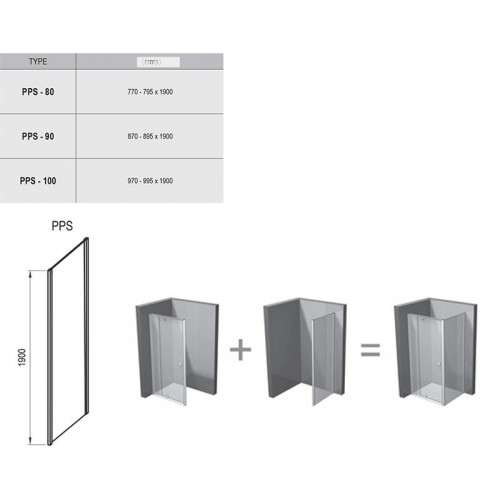 Stacionari sienelė Ravak Pivot PPS, 1000*1900 mm