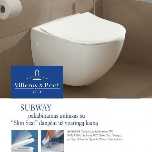 """Pakabinamas unitazas Villeroy & Boch Subway su """"Slim seat"""" lėtai nusileidžiančiu dangčiu"""