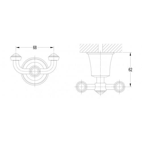 Omnires Art Line AL53120 ORB dvigubas kabliukas rankšluosčiui