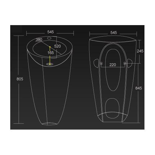 Lux-Aqua 40128-N praustuvas statomas ant grindų, 545*845 mm