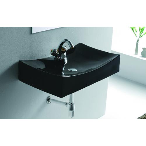 Lux-Aqua juodas praustuvas 4145D-18 kabinamas ant sienos, 658*390 mm