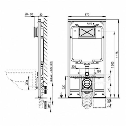 Alca Plast 8cm gylio potinkinis klozeto rėmas su tvirtinimais, A1101
