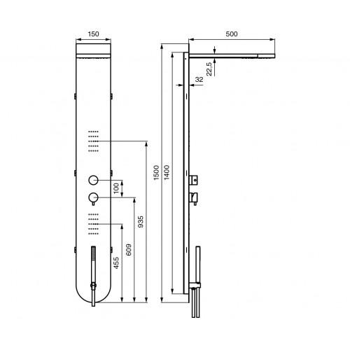 Emmevi Nefer masažinė dušo sienelė, C03052CR