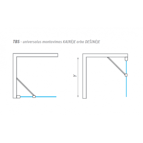 Roth TBS stacionari dušo sienelė, 800 / 900 / 1000 mm