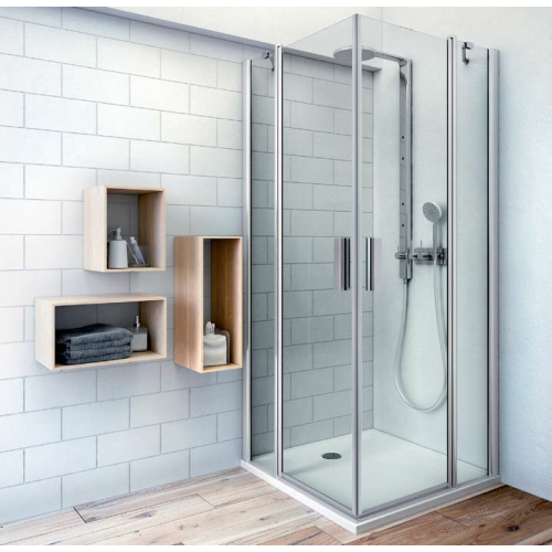 Roltechnik TDO1+TDO1 kvadratinė dušo kabina su dviejų elementų atveriamomis durimis