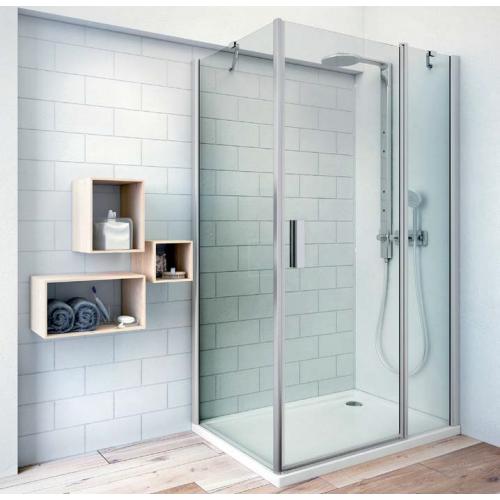 Roltechnik TDO1+TB kvadratinė dušo kabina su atveriamomis durimis ir šonine siena