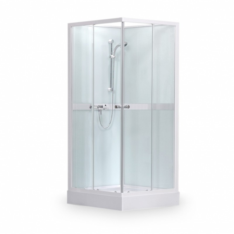 SaniPro Simple Square/900 kvadratinė dušo kabina - boksas su padėklu