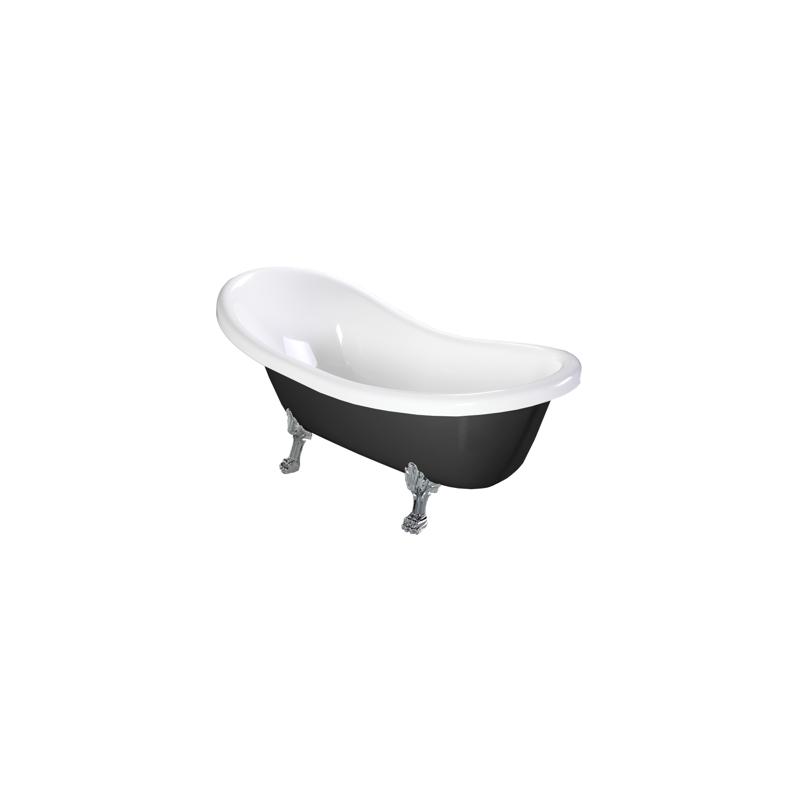 Omnires Marble+ vonia iš lieto marmuro Atena Black, 157*76 cm