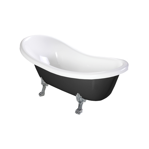 Omnires Marble+ vonia iš lieto marmuro Atena Black, 174*82 cm