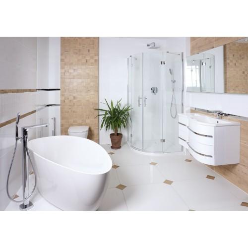 Omnires Marble+ vonia iš lieto marmuro Barcelona matinė balta, 156*71 cm