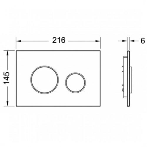 TECEloop plastikinė vandens nuleidimo plokštelė, paviršius baltas, mygtukai chromo spalvos