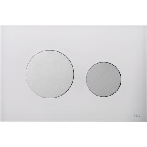 TECEloop vandens nuleidimo plokštelė stikliniu paviršiumi, stiklas baltas, mygtukai matiniai