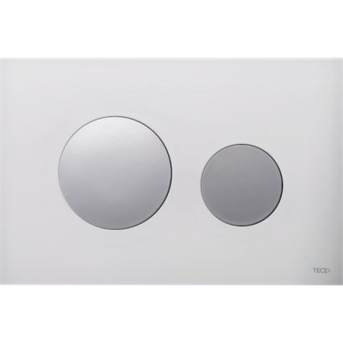 TECEloop vandens nuleidimo plokštelė stikliniu paviršiumi, stiklas baltas, mygtukai blizgantys